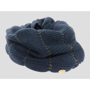 Blu - sciarpa donna - sciarpa ad anello lavorata a balze con lurex oro