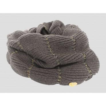 Fango - sciarpa donna - sciarpa ad anello lavorata a balze con lurex oro