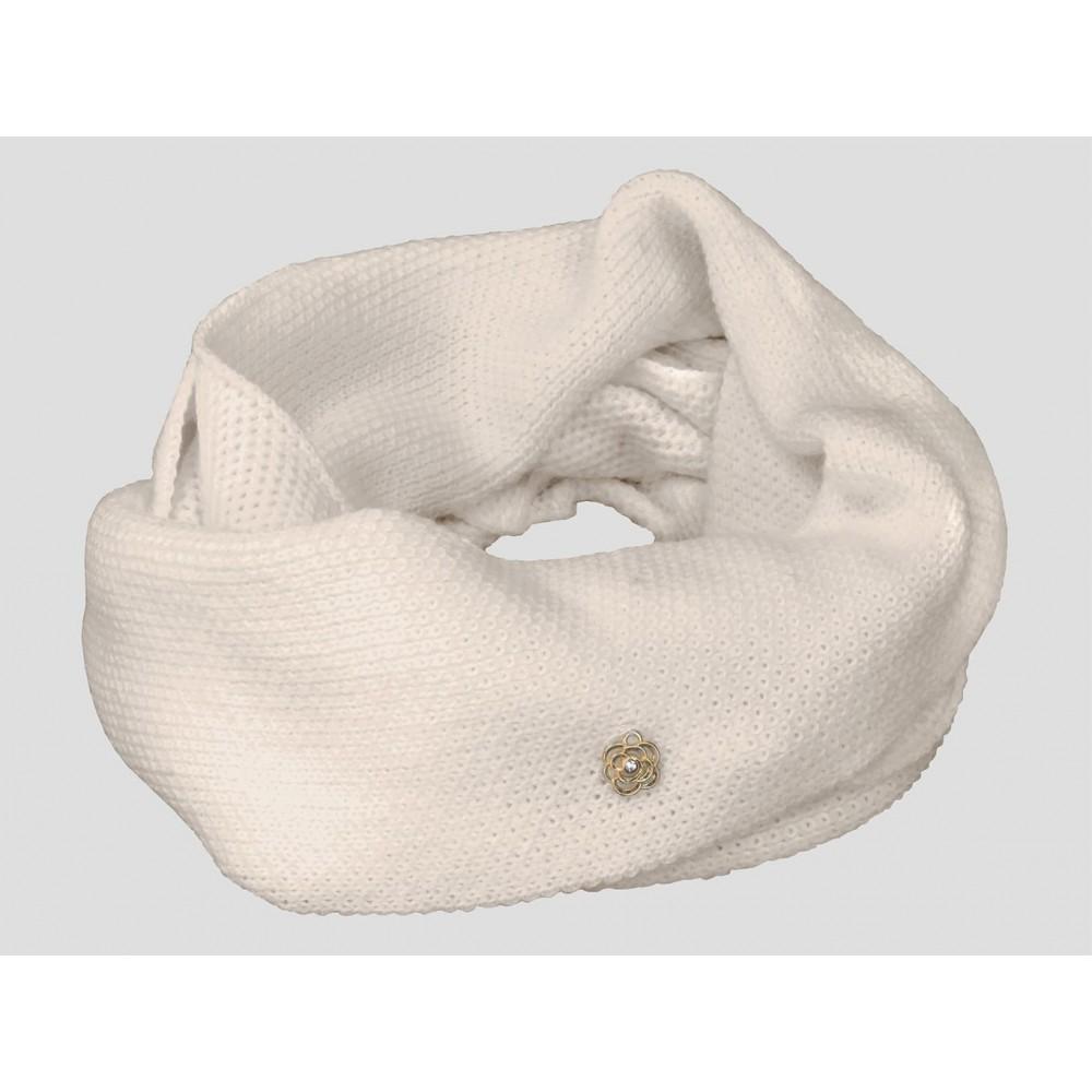 Beige - sciarpa donna - sciarpa ad anello tricot traforata con ciondolo a fiorellino