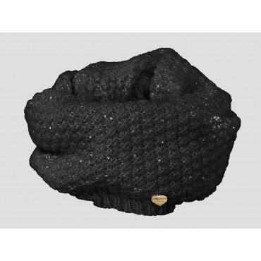 Nera - sciarpa donna - sciarpa ad anello tricot con paillets