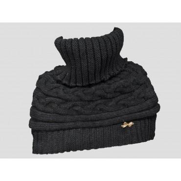 Nero - Coprispalle - mantella tricot a trecce con fiocchetto di strass