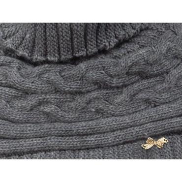 Dettaglio - Coprispalle - mantella tricot a trecce con fiocchetto di strass