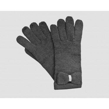 Grigi - guanti donna - guanti con fiocco a maglia impreziosito da catena di strass