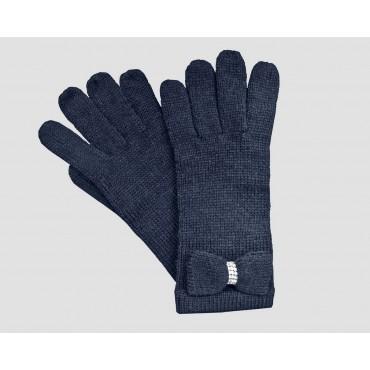 Blu - guanti donna - guanti con fiocco a maglia impreziosito da catena di strass
