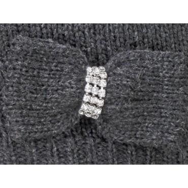 Dettaglio - sciarpa donna - sciarpa tricot con fiocco in maglia con strass