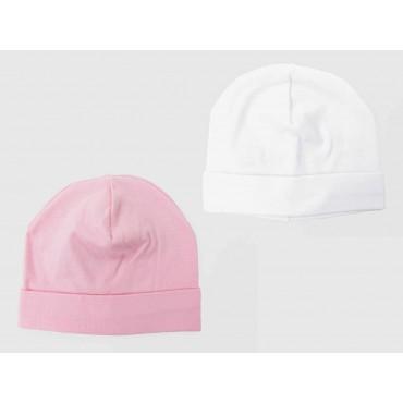 Set bianco/rosa - cappellini neonato - berretti di cotone elasticizzato tinta unita