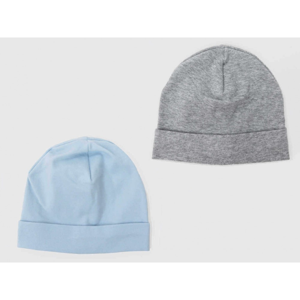 Gray / light blue set - baby hats - plain color stretch cotton caps