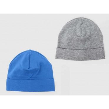 Set grigio/denim - cappelli bimbo - berretti di cotone elasticizzato tinta unita