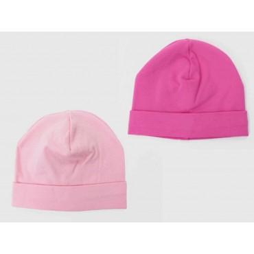Set fucsia/rosa - cappelli bimba - berretti di cotone elasticizzato tinta unita