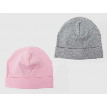 Gray / pink set - baby hats - plain colored stretch cotton caps