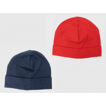 Set rosso/blu - cappelli bimbo - berretti di cotone elasticizzato tinta unita