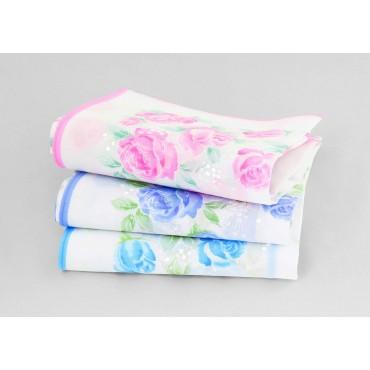 Varianti - Grazia - fazzoletti di cotone da donna con stampa di rose pastello