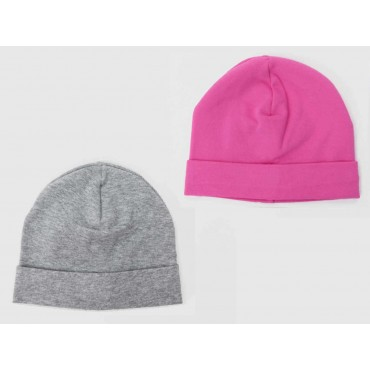 Set grigio/fucsia - cappelli bimba - berretti di cotone elasticizzato tinta unita