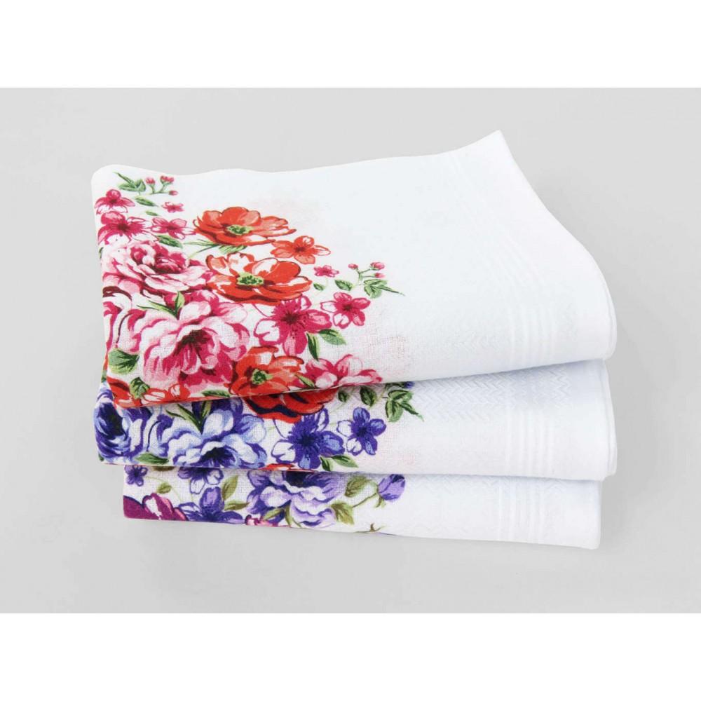 Victoria - white handkerchiefs with bouquet flowers