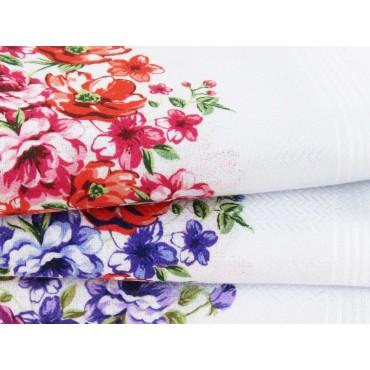 Victoria - white handkerchiefs with bouquet flowers detail