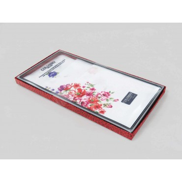 Victoria - white handkerchiefs with bouquet flowers side box