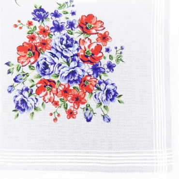 Victoria - white handkerchiefs with bouquet flowers red and purple