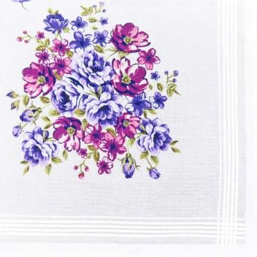 Victoria - white handkerchiefs with bouquet flowers purple