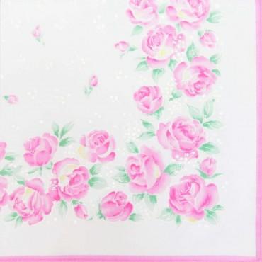 Variante rosa - Grazia - fazzoletti di cotone da donna con stampa di rose pastello
