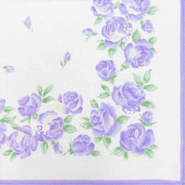 Variante lilla - Grazia - fazzoletti di cotone da donna con stampa di rose pastello