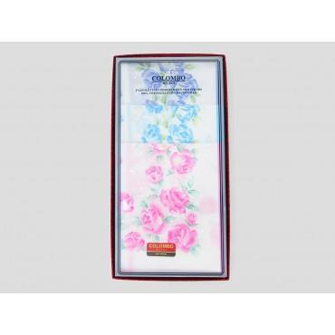 Scatola frontale - Grazia - fazzoletti di cotone da donna con stampa di rose pastello