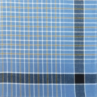 Variante quadretti azzurri - Dark - fazzoletto di cotone da uomo scuro