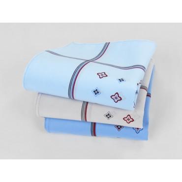 Varianti - Zaffiro colorato - fazzoletti di cotone da uomo a fondo pastello stampati con motivi geometrici e righe