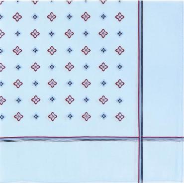Variante azzurra - Zaffiro - fazzoletto di cotone da uomo a fondo pastello stampato con motivi geometrici e righe