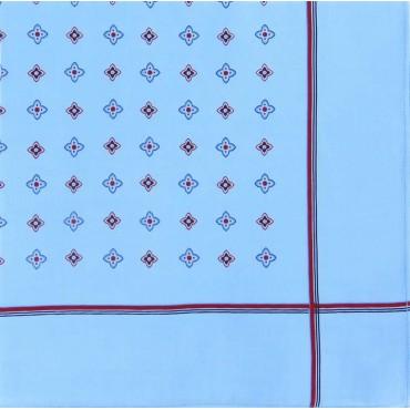Variante blu - Zaffiro - fazzoletto di cotone da uomo a fondo pastello stampato con motivi geometrici e righe