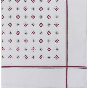 Variante grigia - Zaffiro - fazzoletto di cotone da uomo a fondo pastello stampato con motivi geometrici e righe
