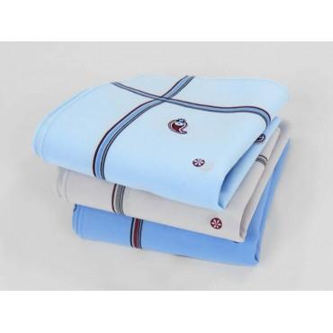 Varianti - Zaffiro - fazzoletti di cotone da uomo a fondo pastello stampati con righe e motivi cachemire