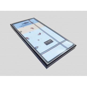 Scatola laterale - Zaffiro - fazzoletti di cotone da uomo a fondo pastello stampati con righe ed motivi cachemire
