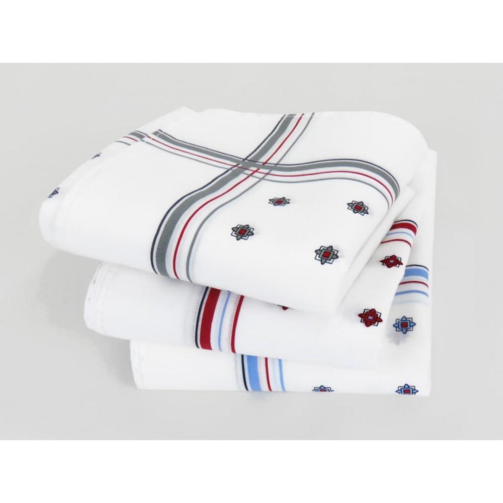 Varianti - Zaffiro - fazzoletti di cotone da uomo stampati con motivi geometrici e righe in tre diversi colori