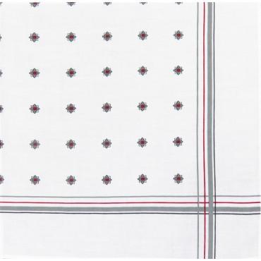 Variante grigia - Zaffiro - fazzoletto di cotone da uomo stampato con motivi geometrici e righe in tre diversi varianti di color