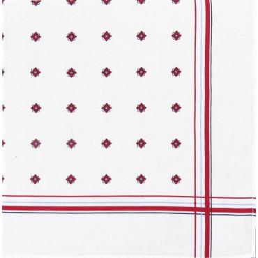 Variante rossa - Zaffiro - fazzoletto di cotone da uomo stampato con motivi geometrici e righe in tre diversi colori