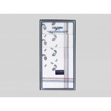 Scatola frontale - Zaffiro - fazzoletti di cotone da uomo stampati con eleganti motivi cachemire in tre diverse varianti di colo