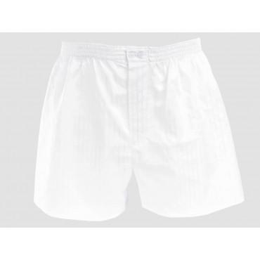 White men's boxer shorts with satin stripes - plus sizes - 100% cotton