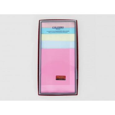 Scatola frontale - Perla - fazzoletti di cotone tinta unita color pastello con righe di raso