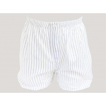 Kent - Men's boxer shorts in blue and blue striped cotton for larger sizes