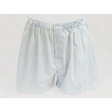 Kent - Men's boxer shorts in cotton with blue and yellow squares for larger sizes