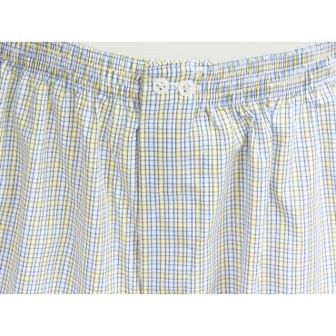 Kent detail - Men's boxer shorts with blue and yellow squares in cotton plus sizes