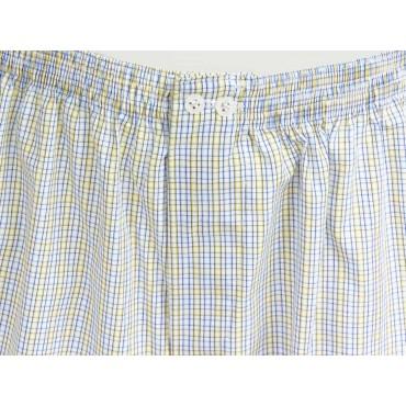 Dettaglio Kent - Boxer da uomo a quadrettini azzurri e gialli in cotone taglie forti