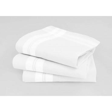 Varianti - Manhattan - fazzoletti di cotone bianchi da uomo con incroci di righe di raso e Orlo a mano