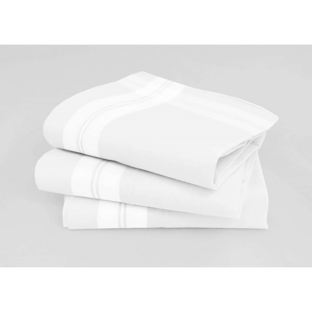 Manhattan white handkerchiefs cross of satin stripes & hand rolled hem