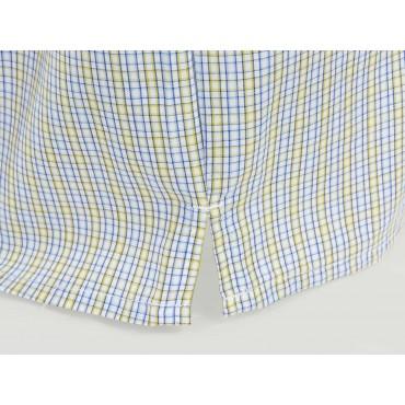 Spacco Kent - Boxer da uomo a quadrettini azzurri e gialli in cotone taglie forti