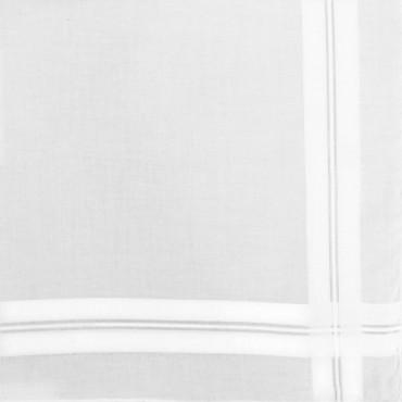 Dettaglio - Manhattan - fazzoletto di cotone bianco da uomo con incroci di righe di raso e Orlo a mano