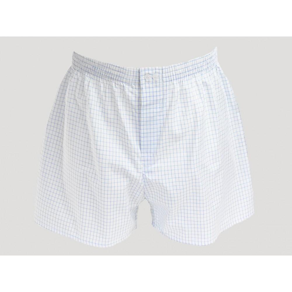 Kent - Men's boxer shorts in white cotton with blue checks