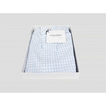 Open box Kent - Boxer for men in white cotton with blue squares