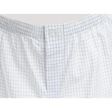 Dettaglio Kent - Boxer da uomo in cotone bianchi a quadretti blu