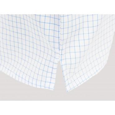 Kent detail - Men's boxer shorts in white cotton with blue squares